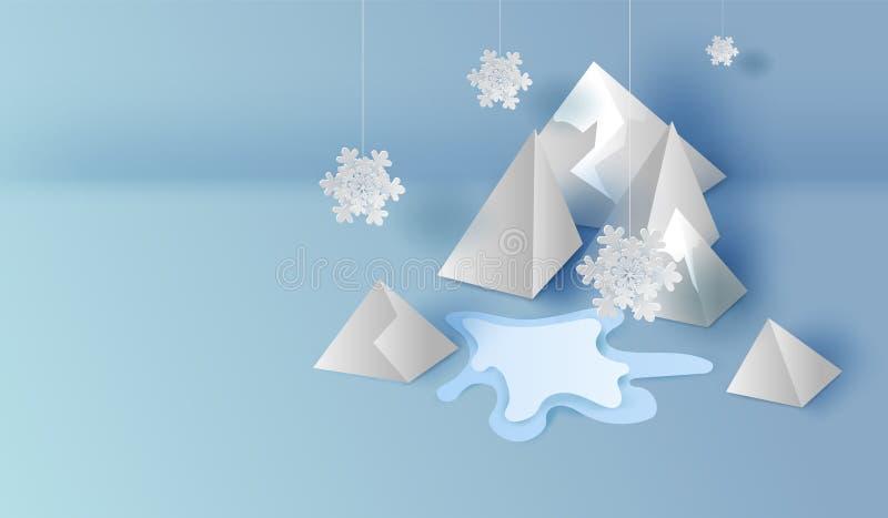 3D en la vista superior de las montañas del arte y del arte del papel ajardinan la escena, diseño gráfico de las nevadas para la  ilustración del vector
