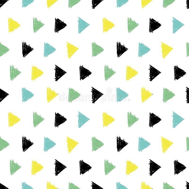 D'encre noire de vecteur modèle géométrique tiré par la main abstrait de triangles de flèches, verte, jaune avec des cercles d'am illustration stock