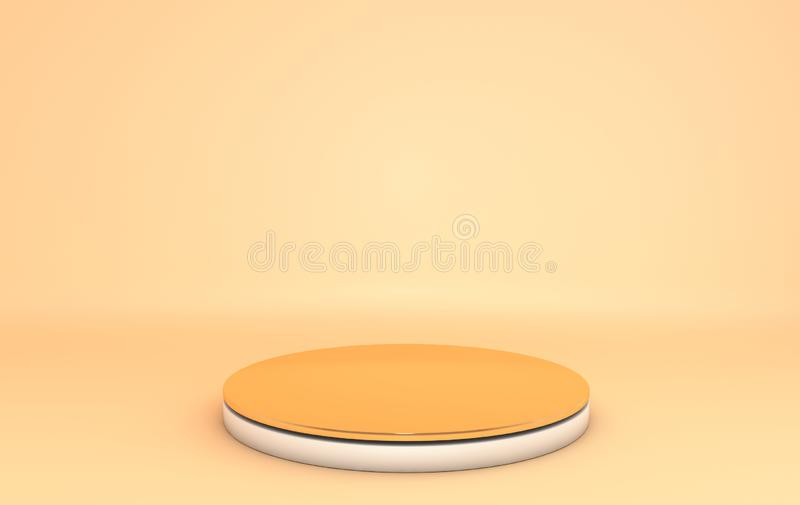 3D endering background, pastel colored studio with geometric shape golden and white cylinder podium, metallic platform for royalty free illustration