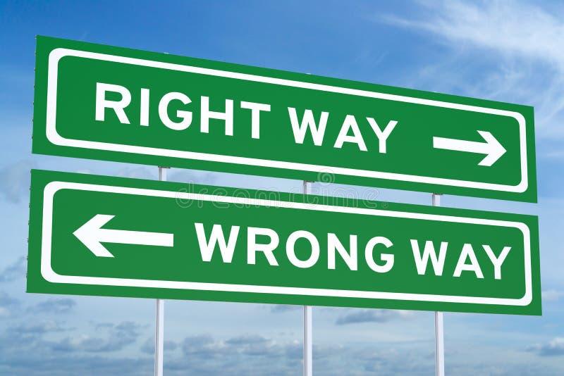 3D endireitam ou sinal de estrada errado da maneira ilustração stock