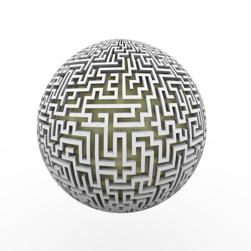 3d endless labyrinth maze planet ball. 3d rendering of endless maze sphere ball presenting labyrinth planet royalty free illustration