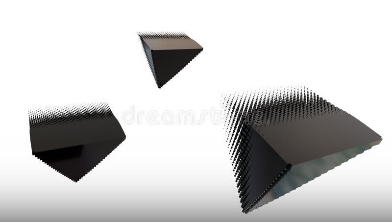 3d enegrecem o piramid do material do metal, ilustração 3d ilustração royalty free