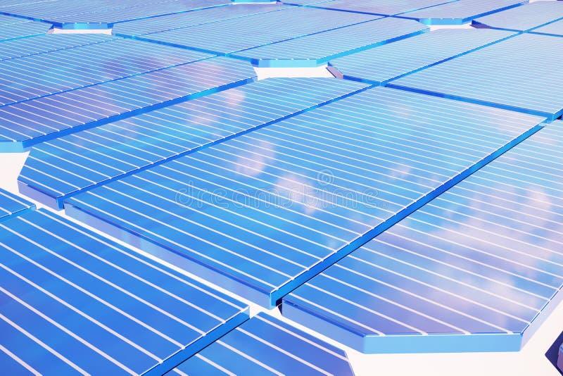 3D energii słonecznej ilustracyjny pojęcie Zmierzchu nieba odbicie na photovoltaic panelu Władza, ekologia, technologia royalty ilustracja