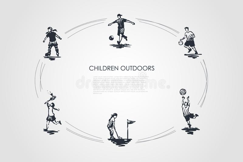 D'enfants enfants dehors - jouant au football, le football, golf, badminton et faisant du patin à roulettes l'ensemble de concept illustration libre de droits