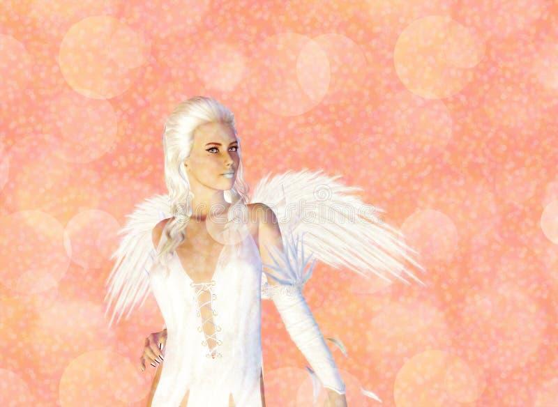 3D Engel op Roze Bokeh-Achtergrond stock illustratie