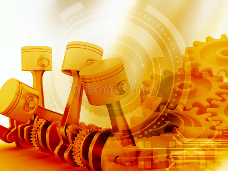 3d engine pistons and cog wheels stock illustration