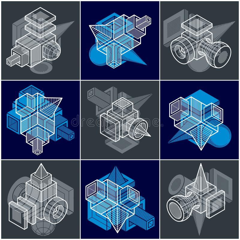 3D engineering vectors, collection of abstract shapes. Geometric shapes in modern art composition stock illustration