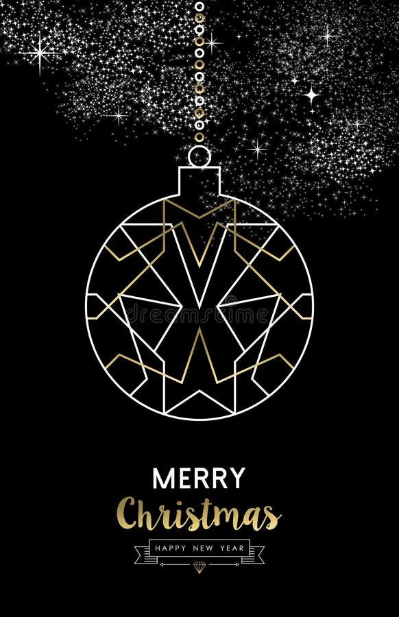 Or d'ensemble de boule de babiole de nouvelle année de Joyeux Noël illustration stock