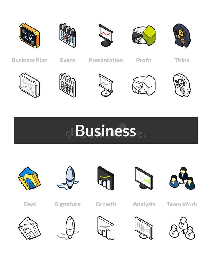 D'ensemble d'icônes isométriques dans les versions de style d'otline, colorée et noires illustration de vecteur