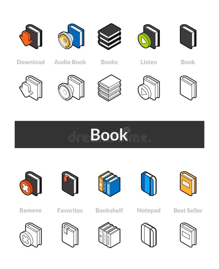 D'ensemble d'icônes isométriques dans les versions de style d'otline, colorée et noires illustration libre de droits