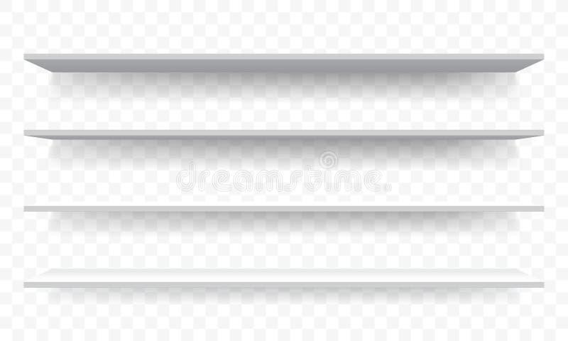 3D enterre la perspective blanche de mur Maquette de support d'étagère d'isolement par vecteur illustration de vecteur
