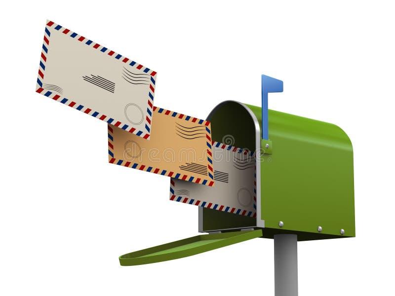 3d Enveloppe L Entrée Dans La Boîte Aux Lettres Photo stock