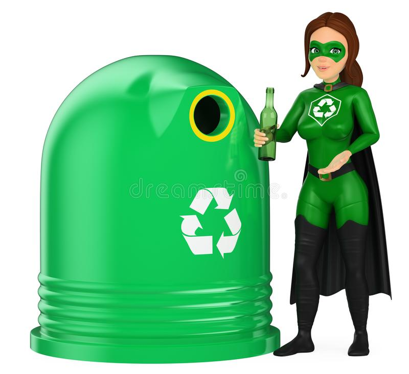3D Woman superhero of recycling putting a glass bottle in a cont. 3d environment people illustration. Woman superhero of recycling putting a glass bottle in a royalty free illustration