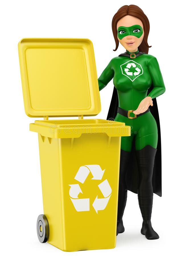 3D Woman superhero of recycling standing with a yellow bin for r. 3d environment people illustration. Woman superhero of recycling standing with a yellow bin for vector illustration
