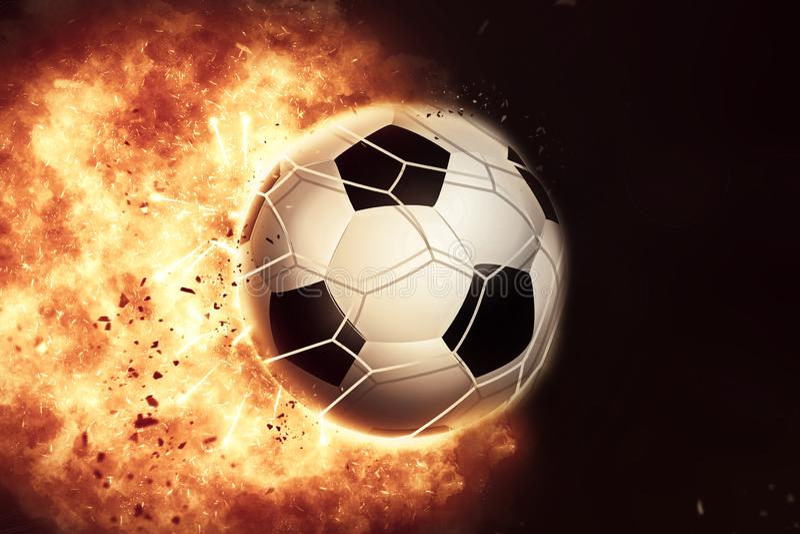 3D eploding fiery football / soccer ball stock illustration