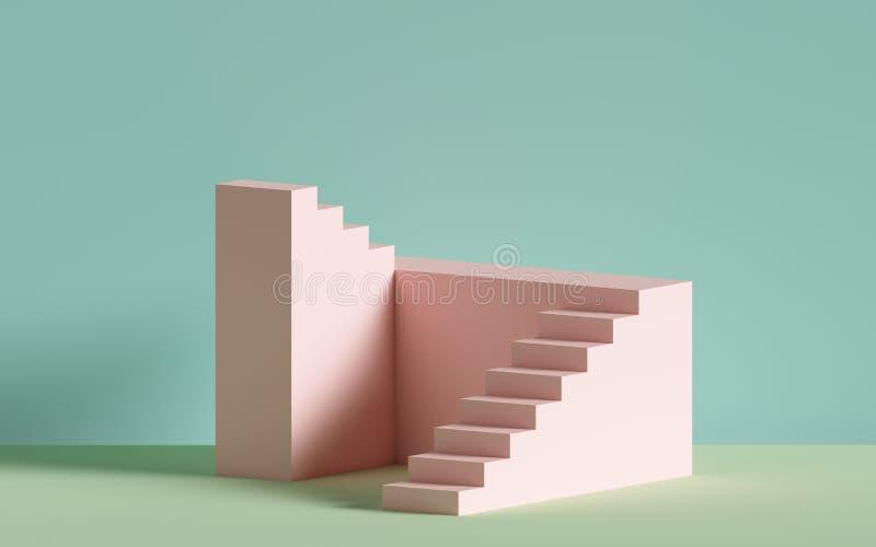 3d escadas cor-de-rosa, etapas, fundo abstrato nas cores pastel, pódio da forma, cena mínima, elemento de bloco arquitetónico ilustração do vetor
