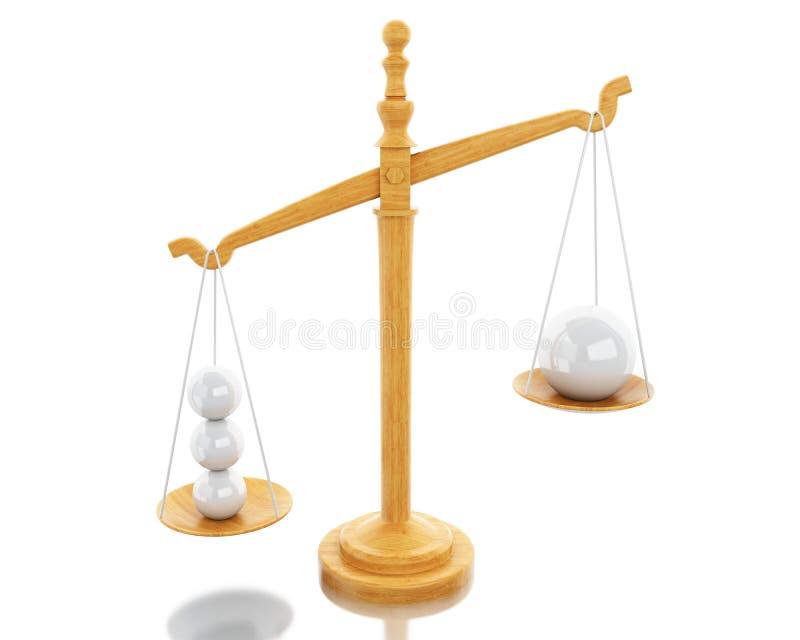 3d escala o equilíbrio com esferas brancas ilustração stock