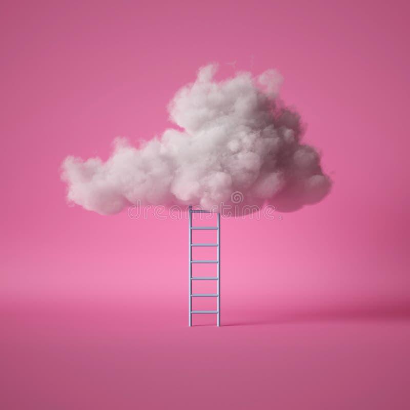 3d, escalera azul bajo la nube blanca esponjosa, aislada sobre fondo rosa ilustración del vector