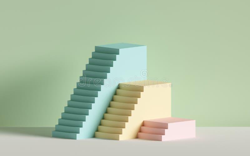 3d escaleras rosadas azules amarillas, pasos, fondo abstracto en colores en colores pastel, podio de la moda, escena mínima, blo stock de ilustración
