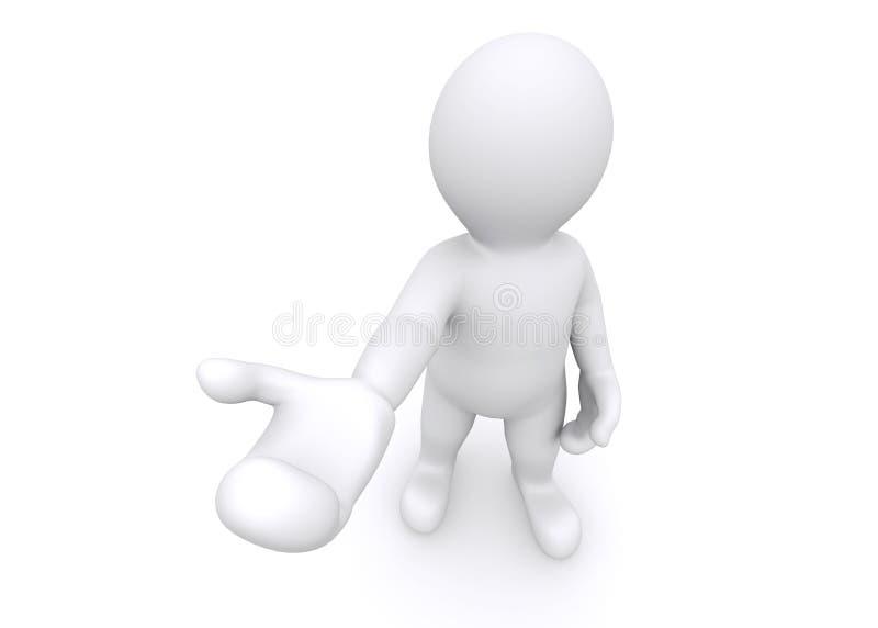 3d esconden la figura que da una mano vacía en el fondo blanco stock de ilustración