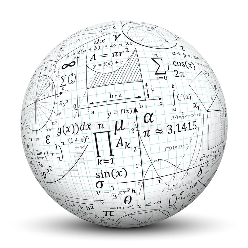 3D esfera blanca - bola con textura del símbolo de la matemáticas libre illustration