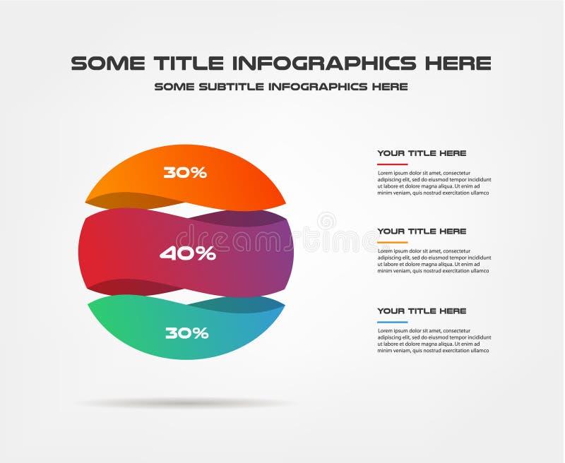 3d esfera, infographics del porcentaje Elemento de la carta, gráfico, diagrama con 3 opciones - piezas, procesos, cronología Nego stock de ilustración