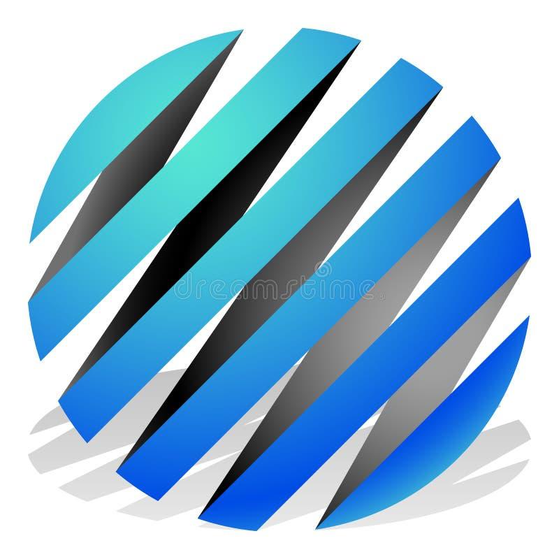3d esferas listradas, esferas Ícones da esfera, logotipos abstratos da esfera ilustração stock