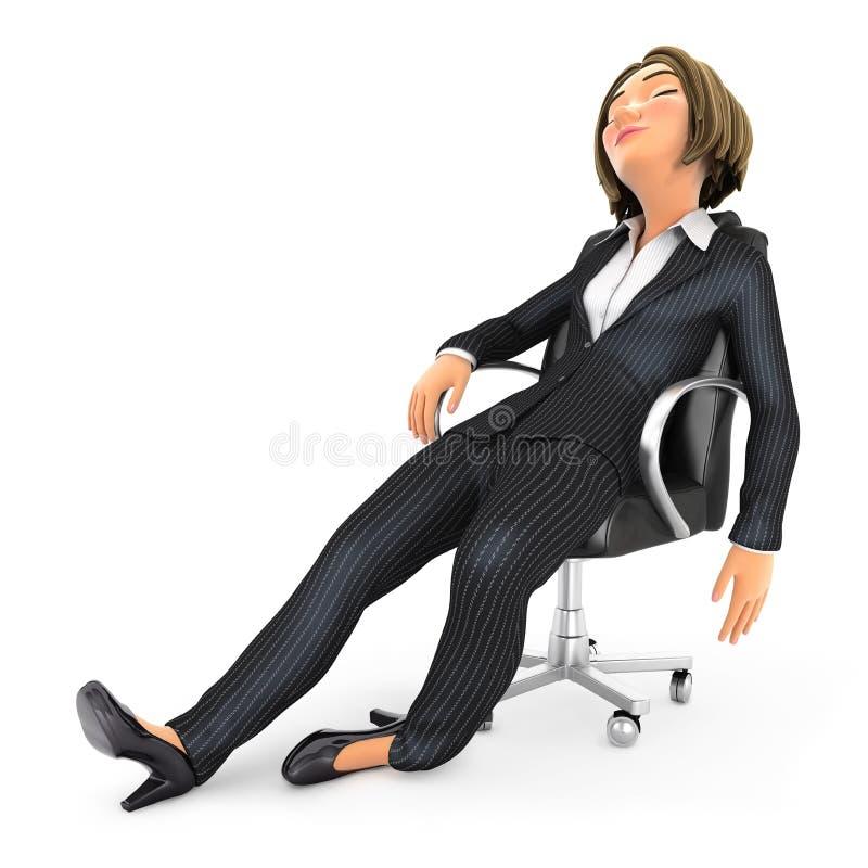 3d esgotou a mulher de negócio que dorme na cadeira ilustração stock