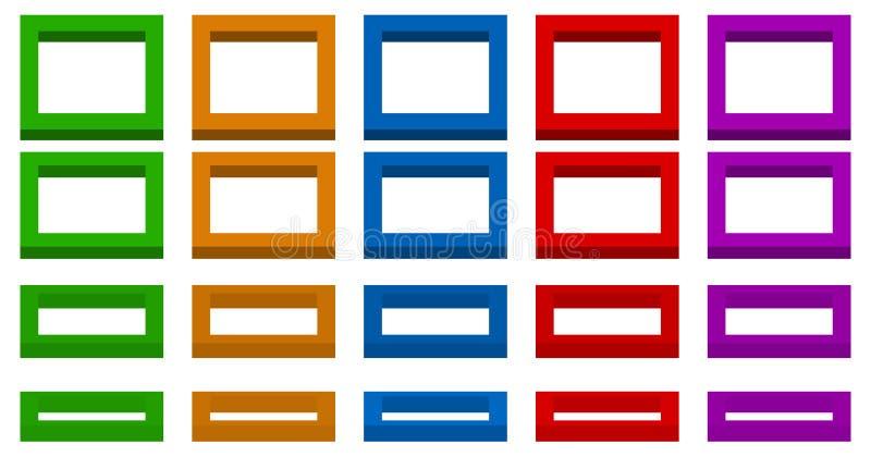 3d espacial colorido esquadra com os 4 ângulos e as 5 cores ilustração do vetor