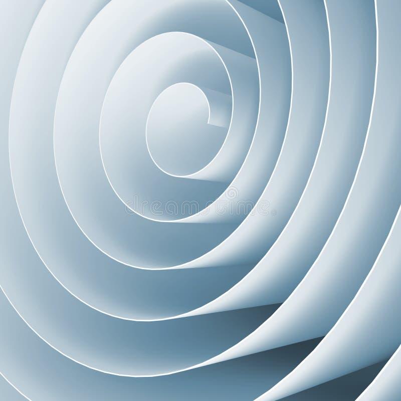 3d espiral tonificada azul, ilustração digital abstrata quadrada ilustração royalty free