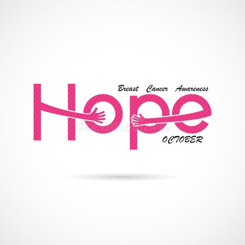 ` D'espoir de ` typographique Icône de mot d'espoir Fond de campagne de mois de conscience d'octobre de cancer du sein illustration de vecteur