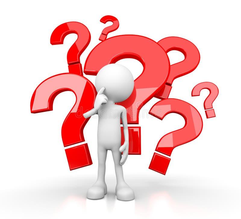 3d essere umano bianco - molte domande illustrazione di stock