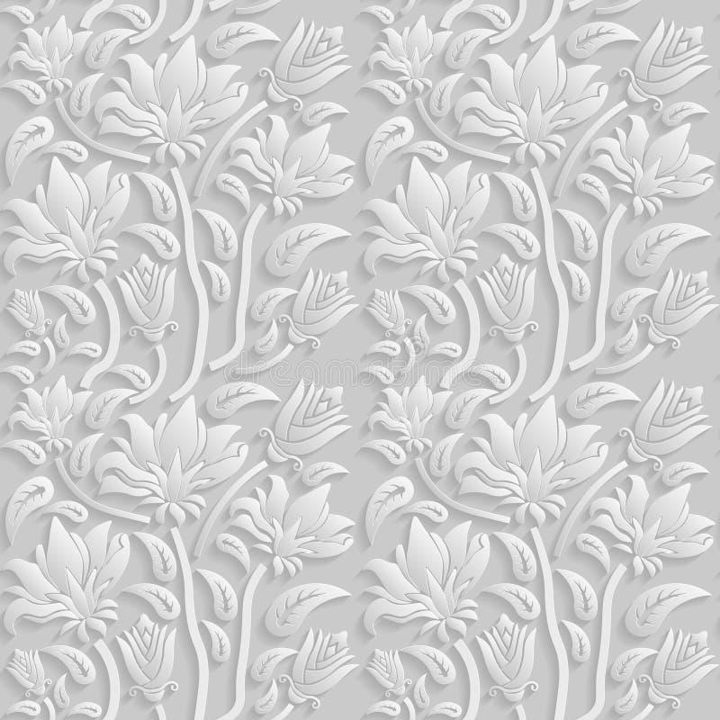 3D estampado de flores blanco inconsútil, vector La textura sin fin se puede utilizar para el papel pintado, terraplenes de model libre illustration
