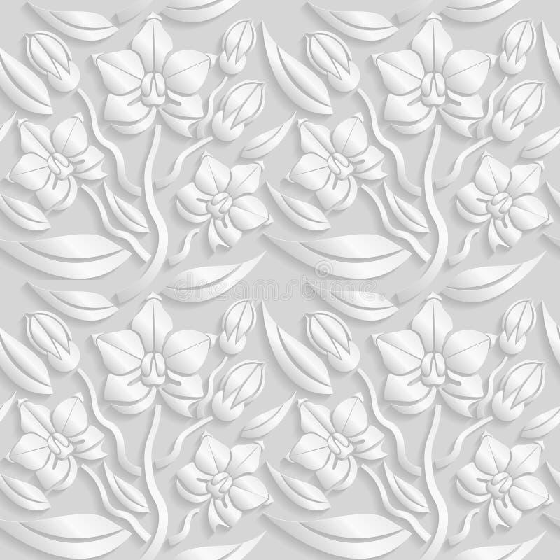 3D estampado de flores blanco inconsútil, vector La textura sin fin se puede utilizar para el papel pintado, terraplenes de model ilustración del vector