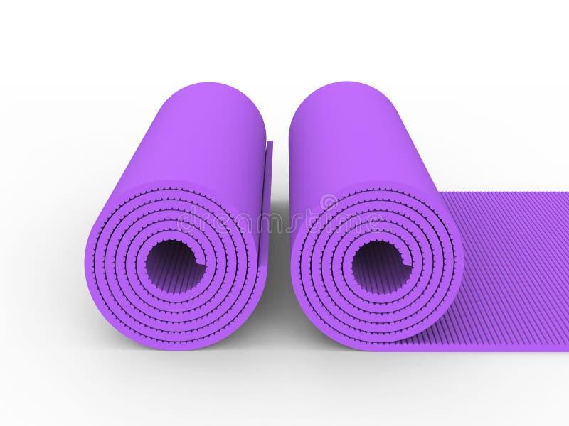 3D esteira da ioga do roxo da ilustração dois ilustração royalty free