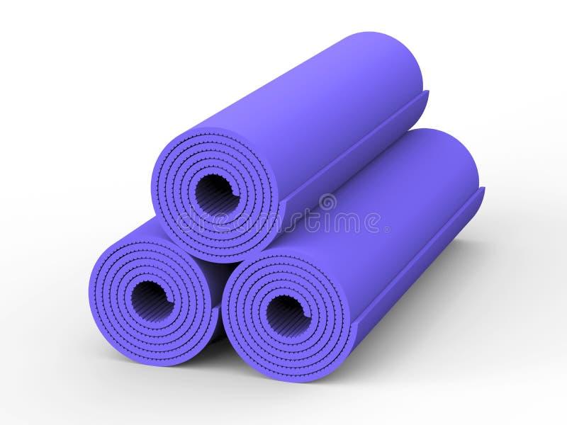 3D esteira da ioga do roxo da ilustração três ilustração stock