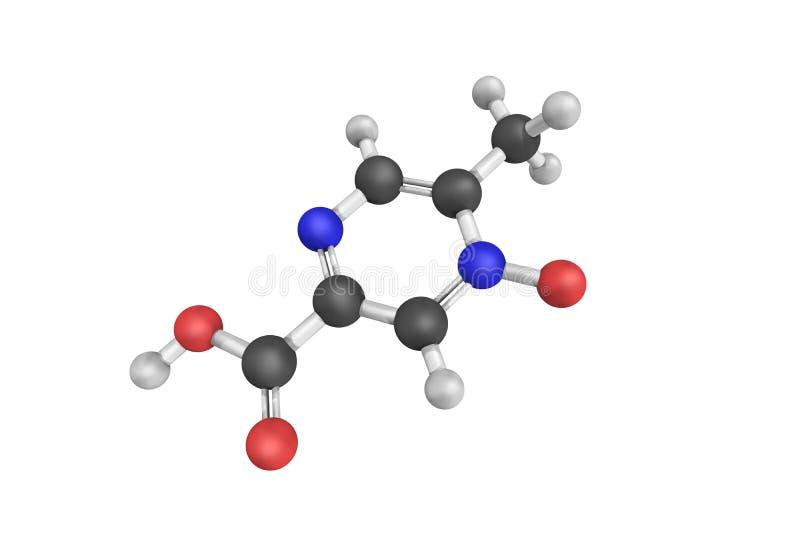 3d estructura de Acipimox, un derivado de la niacina stock de ilustración