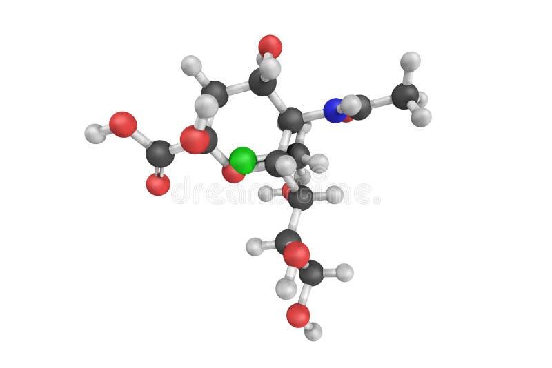 3d estructura del ácido lactamínico, un derivado n-acílico del neurami ilustración del vector