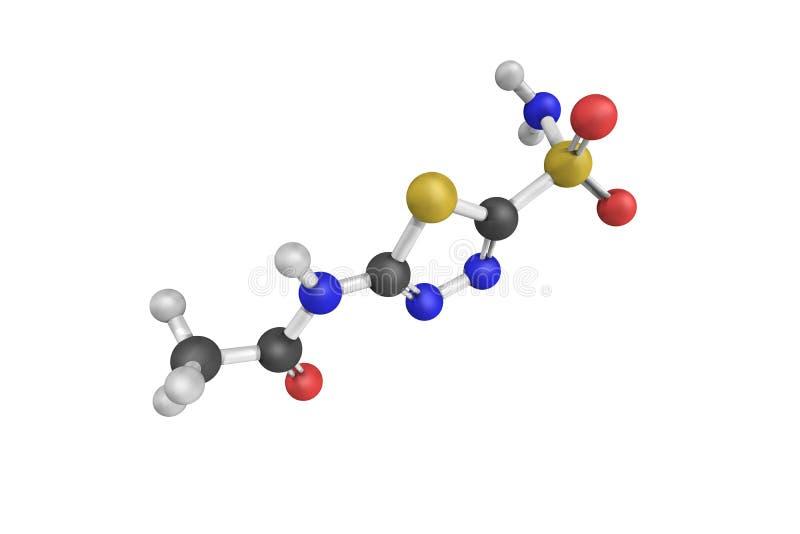 3d estrutura de Acetazolamide, uma medicamentação ilustração stock