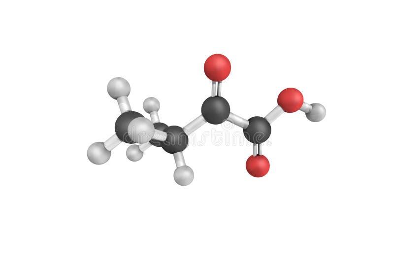3d estrutura do ácido da alfa-Ketoisovaleric, um metabolito do valin fotos de stock