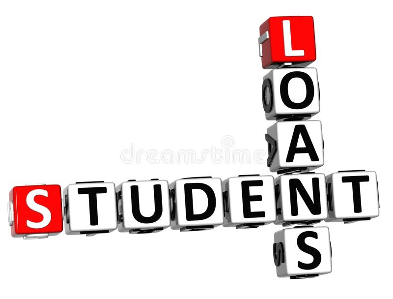 3D estudante Loans Crossword ilustração stock