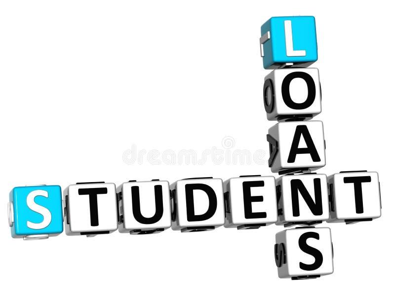 3D estudante Loans Crossword ilustração royalty free