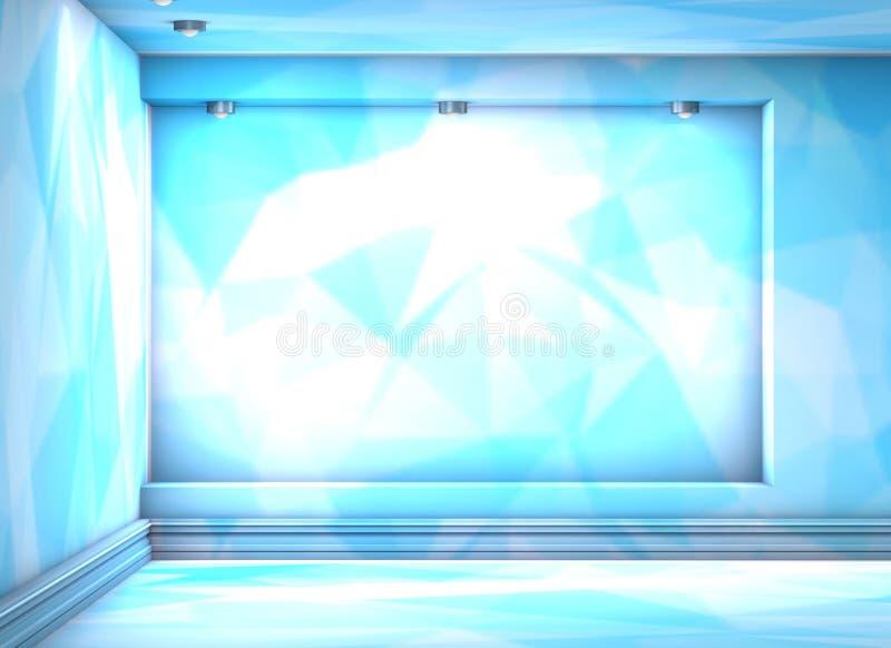 3d esvaziam a ameia com os projetores para a exibição no triangula azul ilustração do vetor