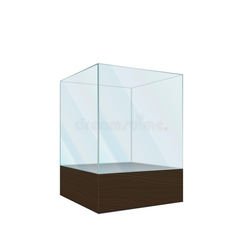 3d esvaziam a mostra de vidro transparente, isolada no branco ilustração do vetor