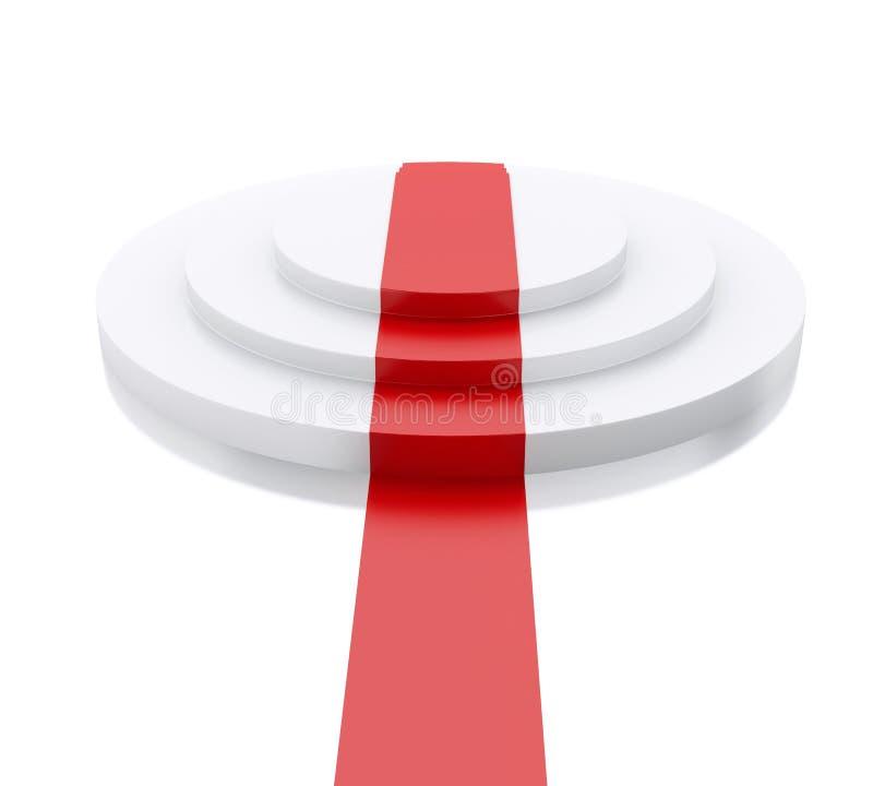 3d esvaziam o pódio branco com tapete vermelho Esfera 3d diferente ilustração royalty free