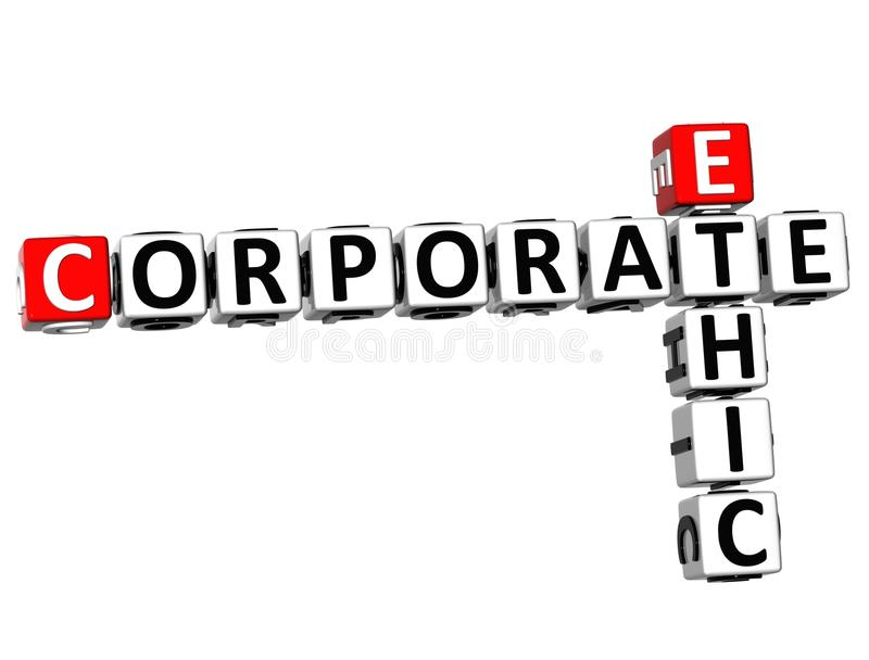 3D Ethic Corporate Crossword. On white background royalty free illustration