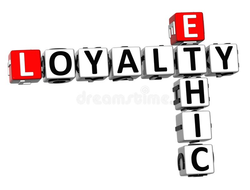 3D Ethic Loyalty Crossword. On white background royalty free illustration