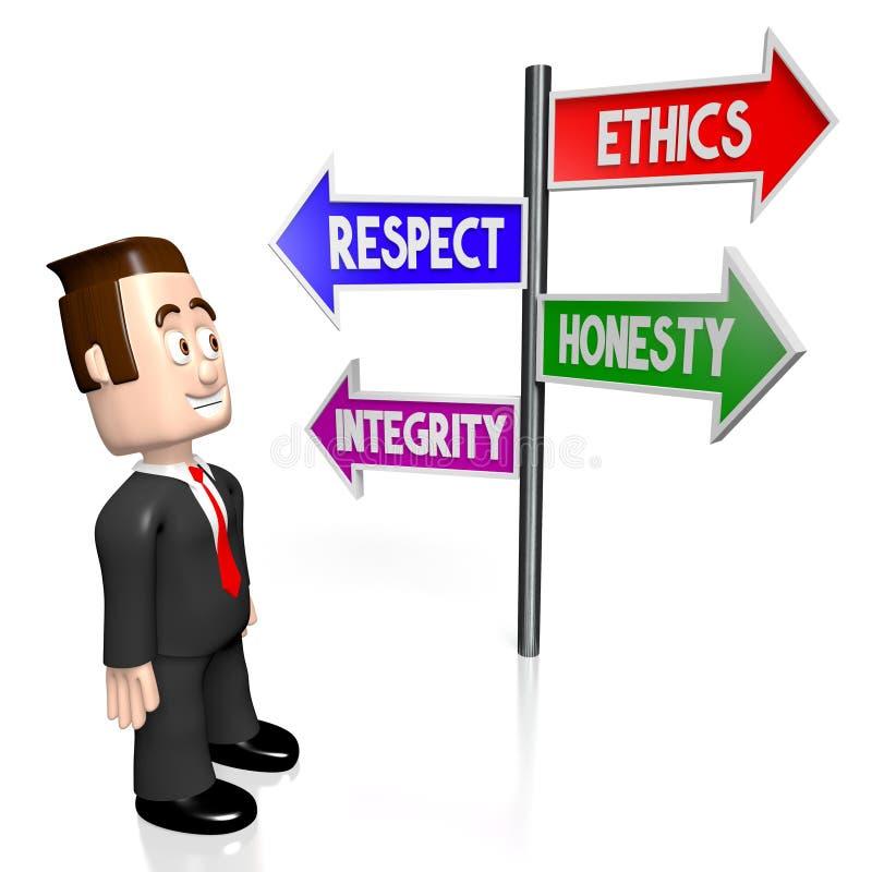 3D ethiek, eerbied, eerlijkheid, integriteitsconcept vector illustratie