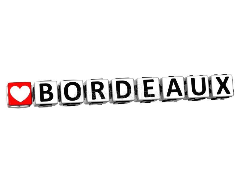 3D eu amo o texto do bloco das palavras cruzadas do Bordéus no fundo branco ilustração royalty free