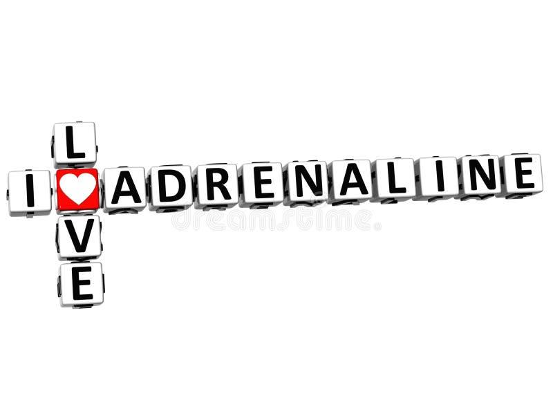 3D eu amo palavras cruzadas da adrenalina ilustração royalty free